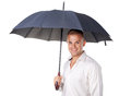 Young man under an umbrella portrait of isolated on white background Royalty Free Stock Photography