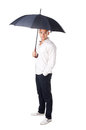 Young man under an umbrella portrait of isolated on white background Royalty Free Stock Photo