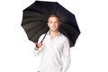 Young man under an umbrella portrait of isolated on white background Royalty Free Stock Photos
