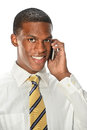 Young man using cell phone african american businessman isolated over white background Royalty Free Stock Photo