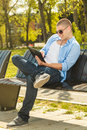 Young man using digital tablet Royalty Free Stock Photo