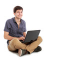 Young man using laptop computer Royalty Free Stock Photo