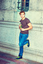 Young Man Waiting for You. Royalty Free Stock Photo