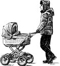 Young man walking with a baby carriage vector drawing of the father his Stock Photo