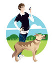 Young Man Walking Dog Royalty Free Stock Photography