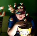 Young man watch 3d movie at home Royalty Free Stock Images