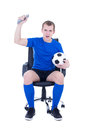 Young man watching football and celebrating goal isolated on whi Royalty Free Stock Photos