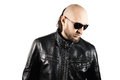 Young man wearing black leather jacket cute and sunglasses Royalty Free Stock Image
