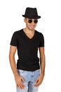 Young man wearing a hat and glasses on white background Stock Photography