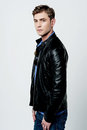 Young man wearing leather jacket Royalty Free Stock Photo