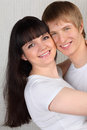 Young man and woman hug Stock Photo