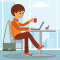 Young man at work. Vector illustration of student coffee break using laptop.