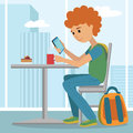 Young man at work. Vector illustration of student coffee break using phone.