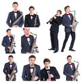 Young mans playing on saxophone and clarinet. Royalty Free Stock Photo
