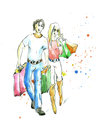 Young married couple is engaged shoping Royalty Free Stock Photo