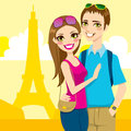 Young married couple enjoy honeymoon trip paris eiffel tower background Royalty Free Stock Photo