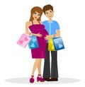 Young married couple in expectant of child with purchase Stock Image