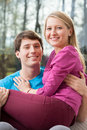Young married couple in home spending the first moments a new Royalty Free Stock Photography