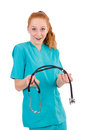 Young medical trainee with stethoscope isolated on white Royalty Free Stock Photos