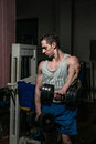 Young men doing heavy weight exercise for shoulder white dumbbell body builder Stock Images