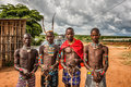Young men from the ethiopian tribes at a market turmi omo valley ethiopia may tsamai banna and hamar with traditional jewelry Stock Images