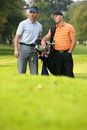 Young men standing on golf course carrying bags Royalty Free Stock Image