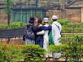Young men taking selfie from behind at Lalbagh Fort in old town Dhaka, Bangladesh