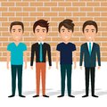 Young men in the wall characters scene Royalty Free Stock Photo