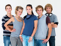 Young men and woman standing against white Royalty Free Stock Photography