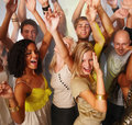 Young men and women dancing and having fun Royalty Free Stock Image