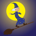 Young Merlin-flying by using a broom in night time Royalty Free Stock Photography