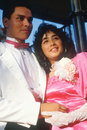 A young mexican couple in formal attire olvera street los angeles ca Stock Photos