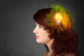 Young mind thinking of green eco energy with lightbulb on grungy background Stock Photo