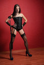 Young mistress in corset and with lash Royalty Free Stock Photography