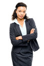 Young mixed race businesswoman with arms folded isolated white b business woman Royalty Free Stock Image