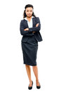 Young mixed race businesswoman with arms folded smiling isolated business woman Royalty Free Stock Photos