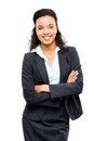 Young mixed race businesswoman with arms folded smiling isolated business woman Royalty Free Stock Images