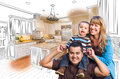 Young Mixed Race Family Over Kitchen Drawing with Photo Combinat