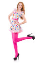 Young model with pink stockings on white Stock Photos