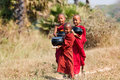 Young monks going to monastery inwa mandalay myanmar Stock Photography