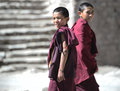 Young monks two at famous hemis monastery in ladakh region of india nearly every ladakhi family offers one of their sons to the Stock Images