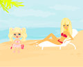 Young mother and her daughter at beach illustration Royalty Free Stock Photos