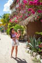 Young mother with her little cute girl walking on the street in an exotic country this image has attached release Royalty Free Stock Image