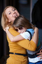 Young mother and her son, hug Stock Photos