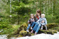 Young mother and her two daughters outdoors on beautiful day Royalty Free Stock Photography