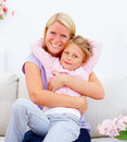 Young mother hugging her cute daughte Stock Photography