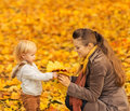 Young mother showing baby fallen leaves Royalty Free Stock Photo