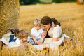 Young mother and two little toddler boys on yellow hay field in summer Royalty Free Stock Photo