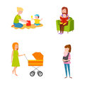 Young mother vector characters.