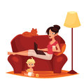 Young mother is working at home vector cartoon comic illustration isolated on white background woman sitting on the couch Royalty Free Stock Images